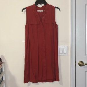 Loft rustic red button down sleeveless shift dress